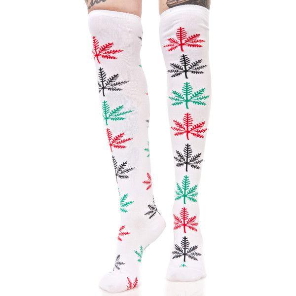 HUF Snowflake Knee High Socks ($22) ❤ liked on Polyvore featuring intimates, hosiery, socks, huf, knee socks, knee hi socks, huf socks and knee high socks