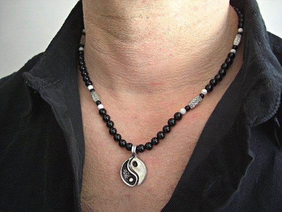 Collier argent yin yang