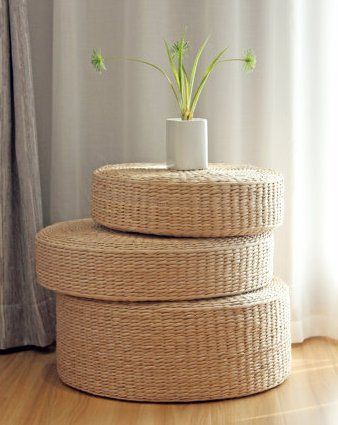 Rustic Floor Cushionsstraw Floor Poufgift For MomsPouf Ottoman Best Pouf Filling