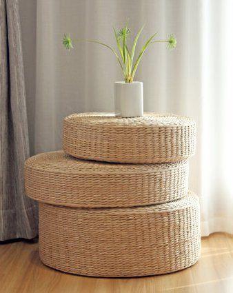 Rustic Floor Cushionsstraw Floor Poufgift For MomsPouf Ottoman Best Pouf Filling