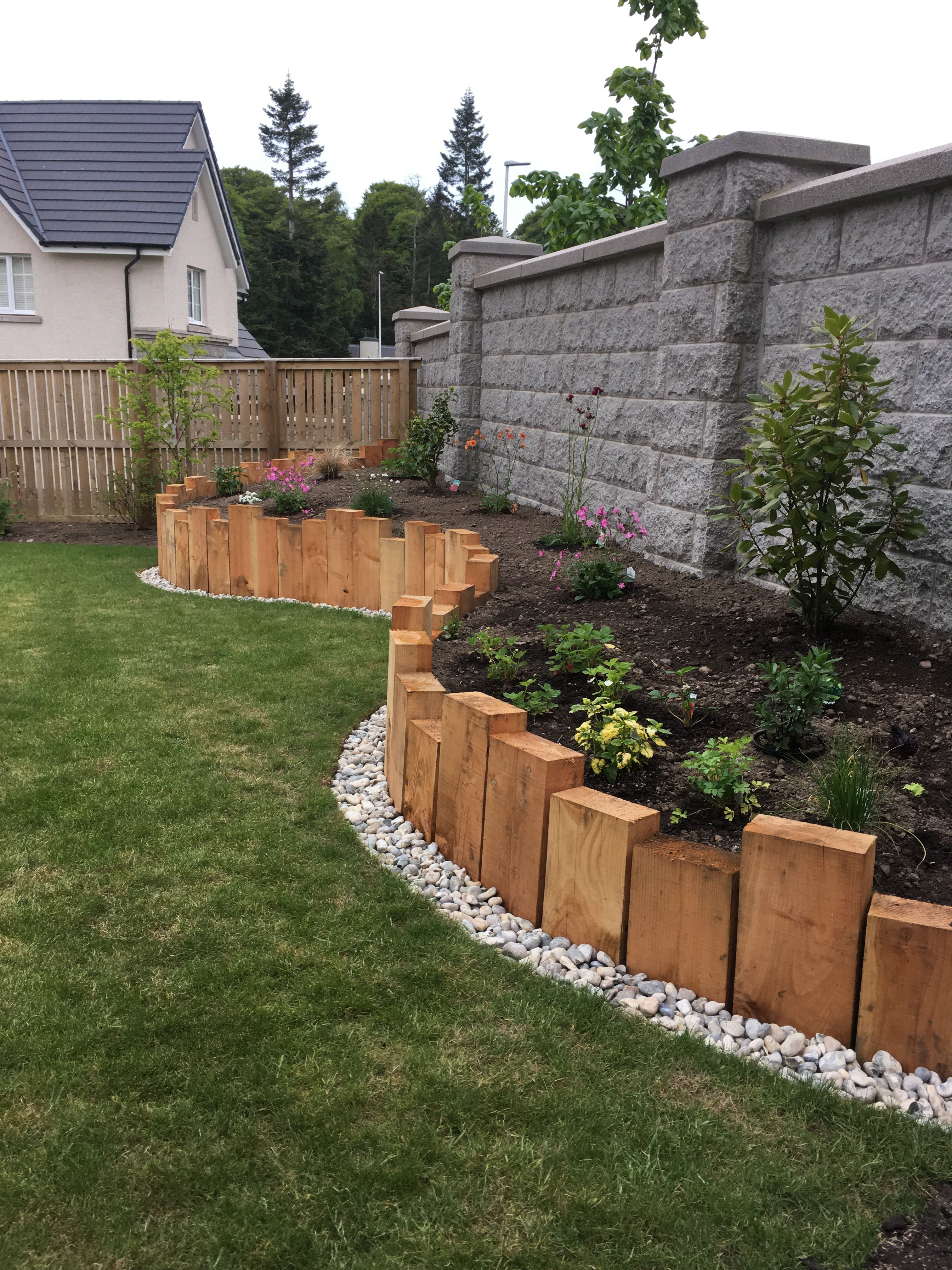 Sleeper Raised Border Backyard Landscaping Designs