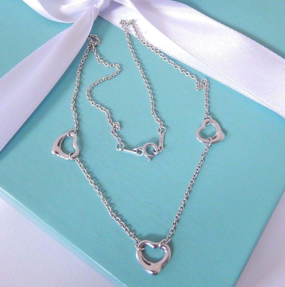30862762b5c1f Tiffany & Co Elsa Peretti Silver 3 Three Open Heart Chain Necklace ...