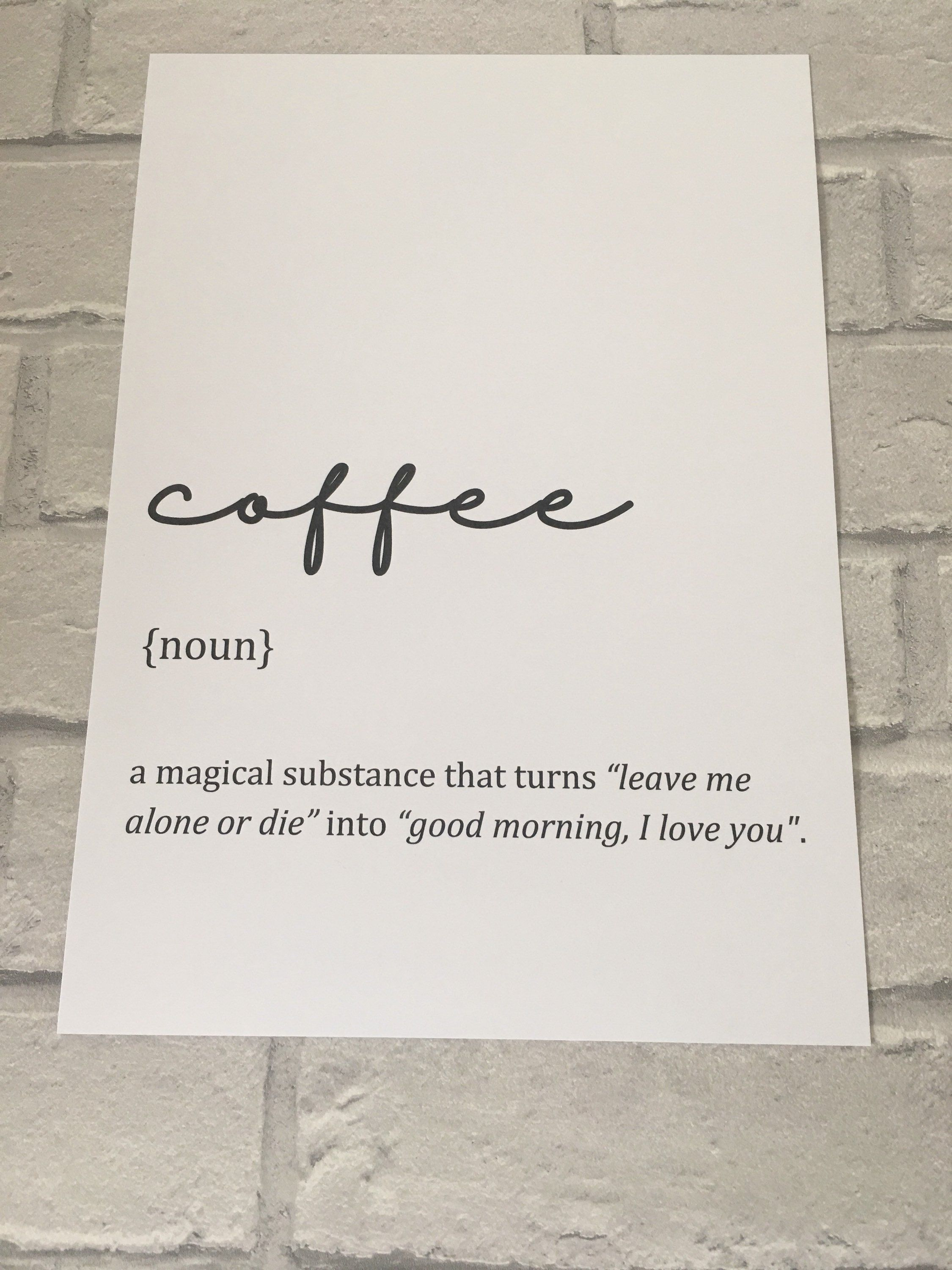 Coffee lover Definition Print Poster, Wall Art Minimalist Poster