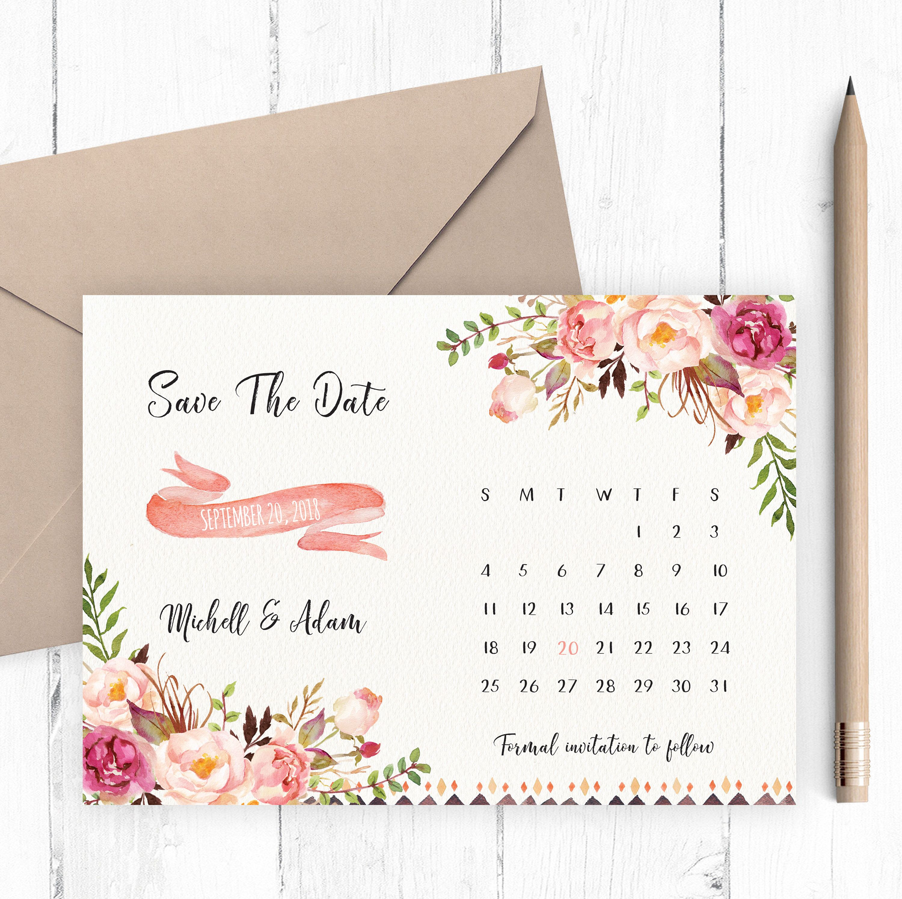 save the date card floral calendar save the date watercolor save the