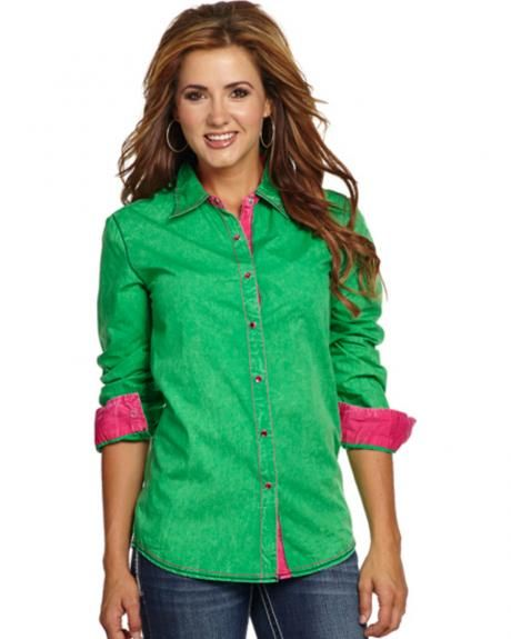 711b92e9 Cowgirl Up Women's Green & Pink Western Shirt | Cowgirl Style ...