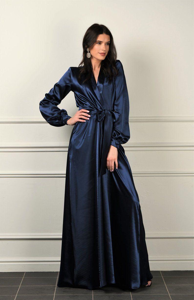 Navy blue satin maxi dress wrap neckline dress long cuff
