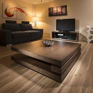 Extra Large Modern Square Dark Elm Brown Wood 1 2mt Coffee Table