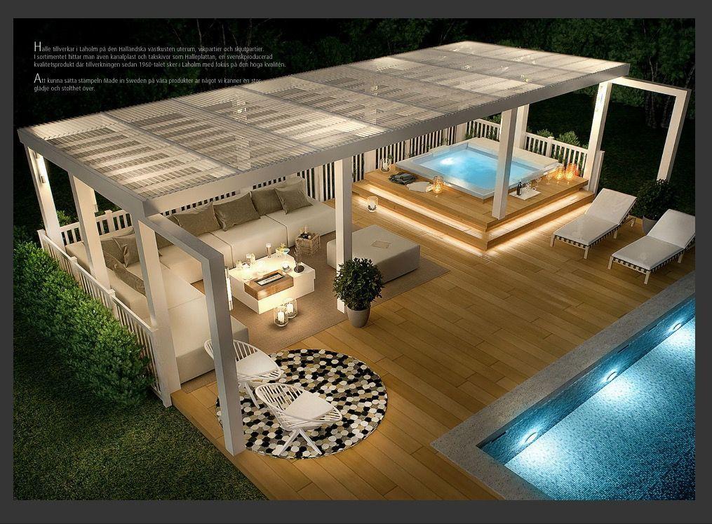 Photo of Piscina y salón al aire libre #outdoorbalcony Piscina y salón al aire libre, #gardengarageideaspatio #Lounge …