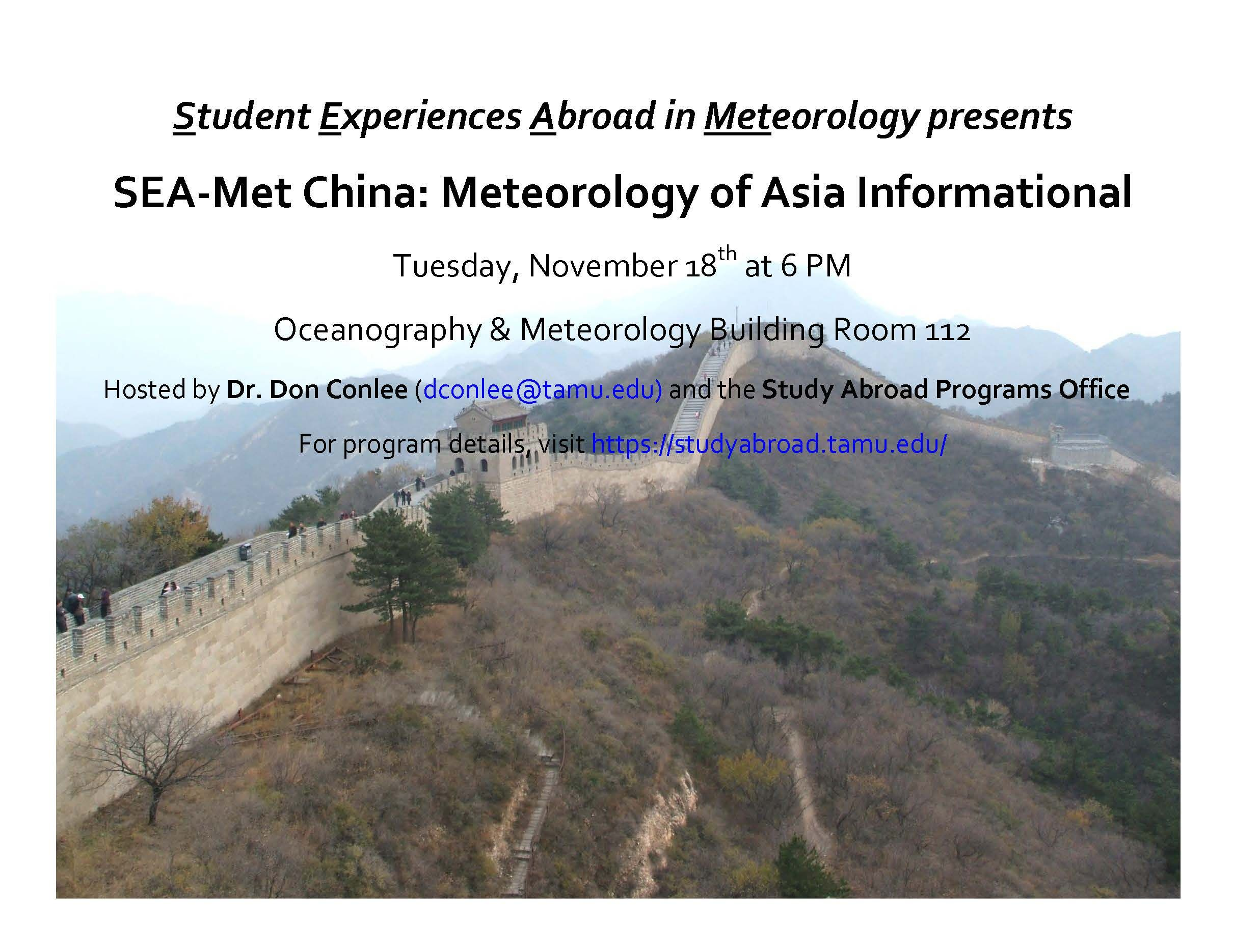 The China S E A Meteorology Summer 2015 Informational Is Tuesday November 18th 6 7 Pm In O M 112 This Maym Weather And Climate Coastal Cities Meteorology