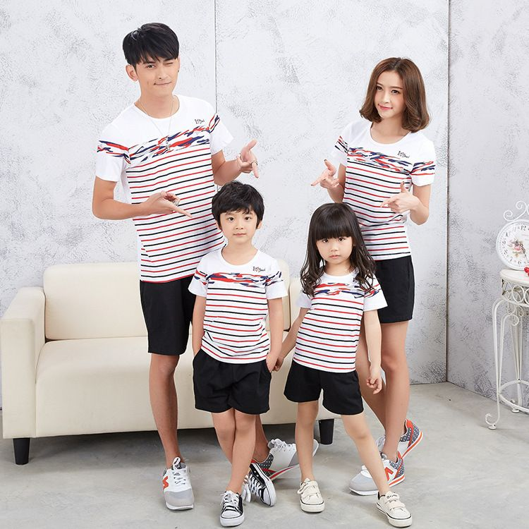 ed8de3a4146d Korean family matching clothes striped short sleeve t-shirt leisure suit  mother daughter dresses clothes