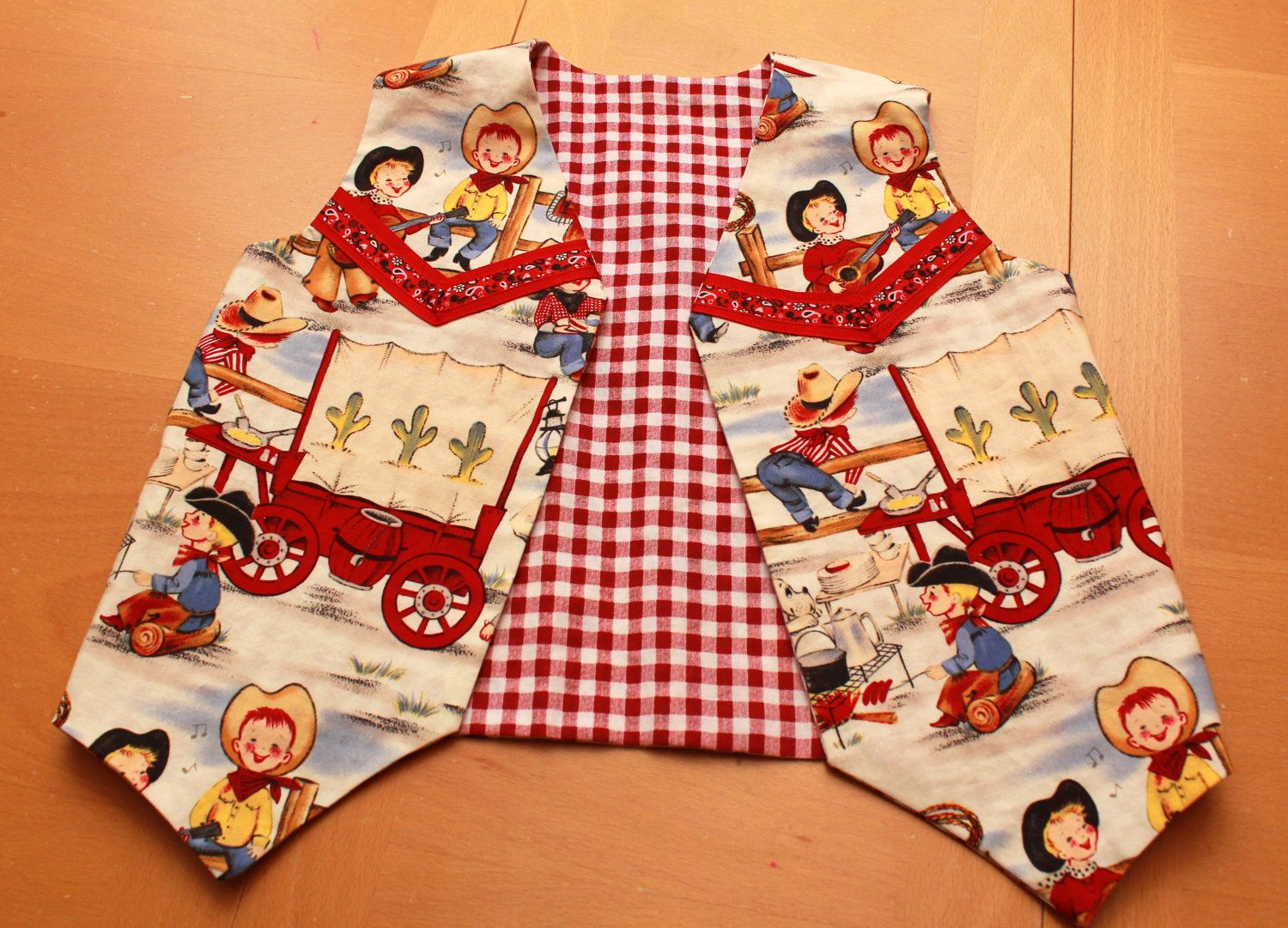 Boy or Girl Retro Cowboy Vest with Western Yoke by