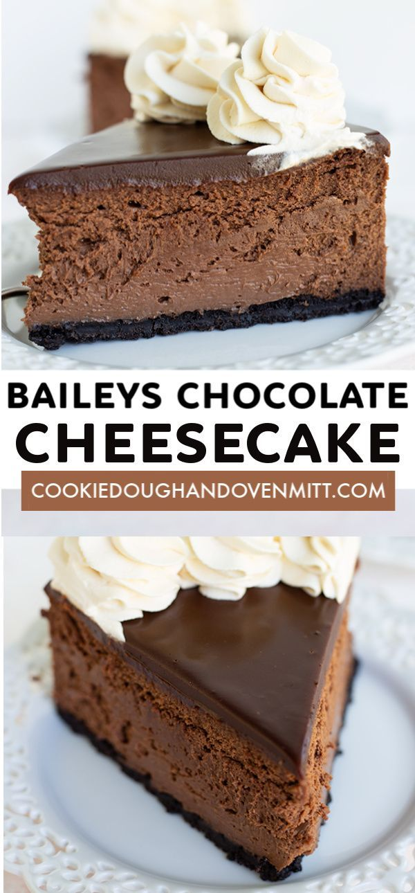 Baileys Chocolate Cheesecake  This Baileys Chocolate Cheesecake packs a punch of booze  The Baileys Irish Cream starts in the chocolate cheesecake filling and works it's way up to the ganache and fin is part of Cheesecake -