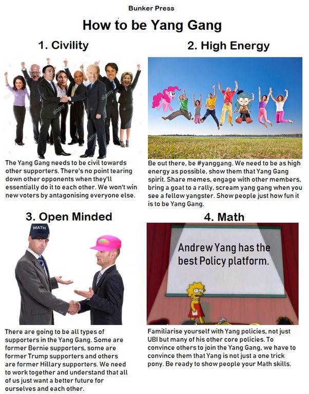 Vote Andrew Yang 2020 Yang, Gang, Thoughts
