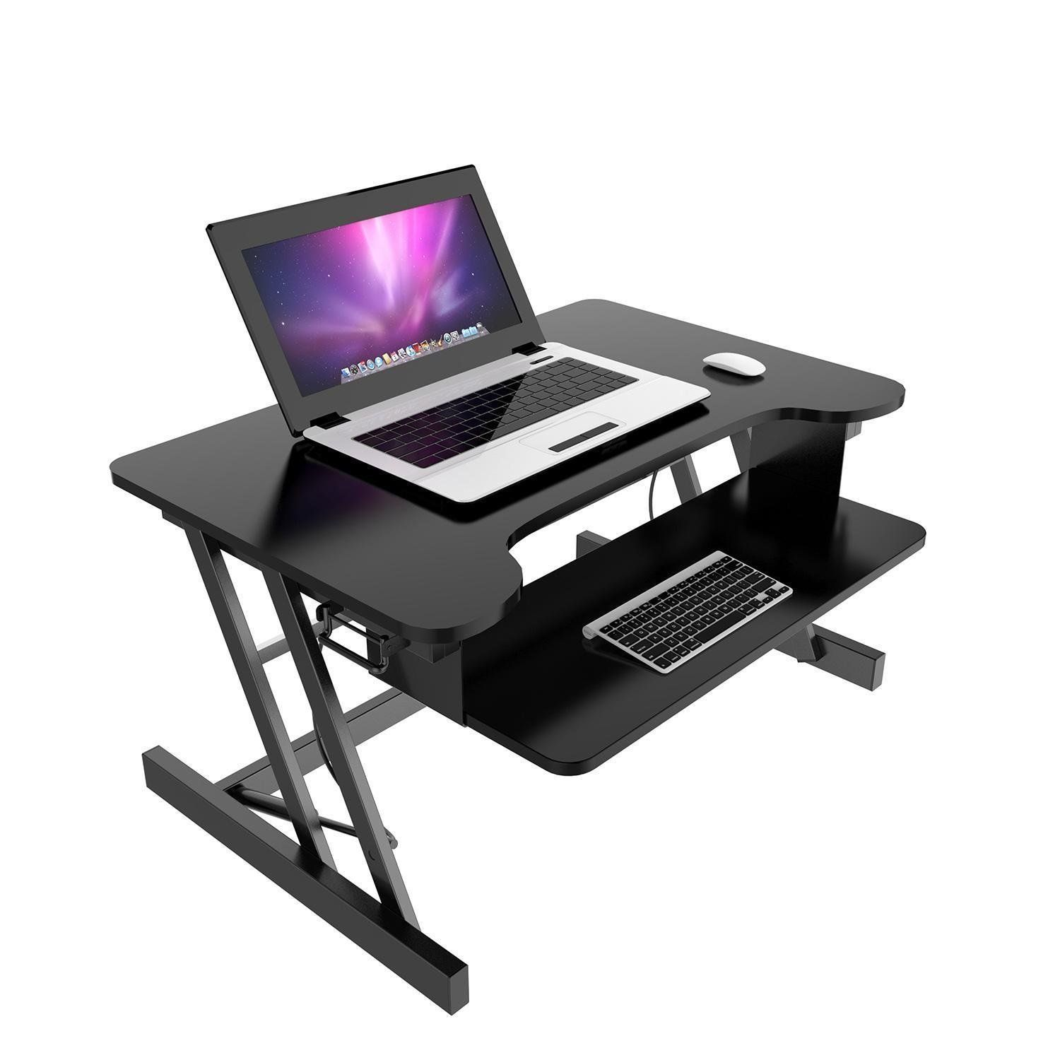 Height Adjustable Standing Desk, Moveable Folding Lift Computer Desk W/ Retractable  Keyboard Tray,
