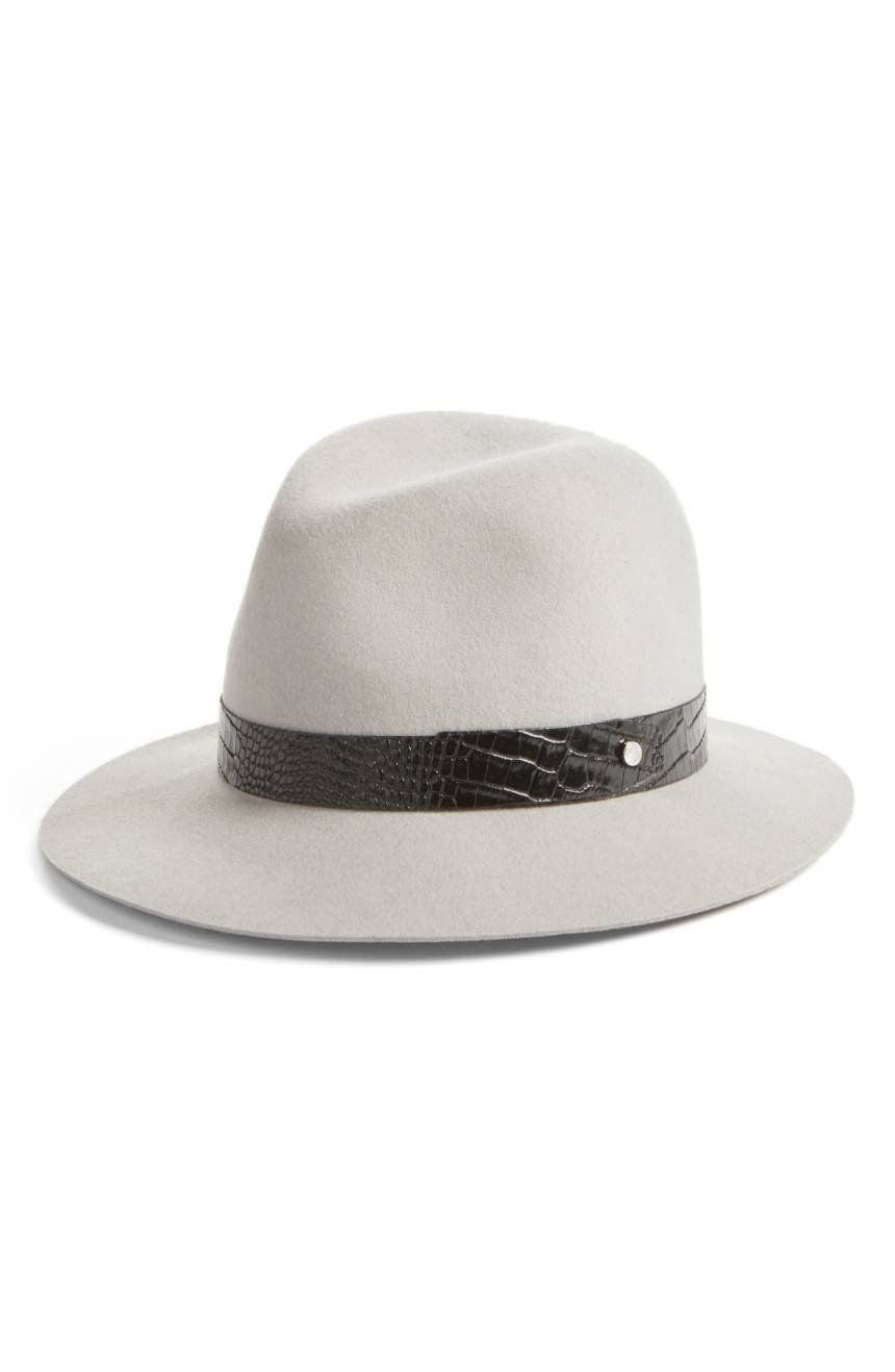 e176569a0 A studded, croc-embossed band upgrades a rich wool fedora styled with a  classic molded crown and wide, floppy brim.