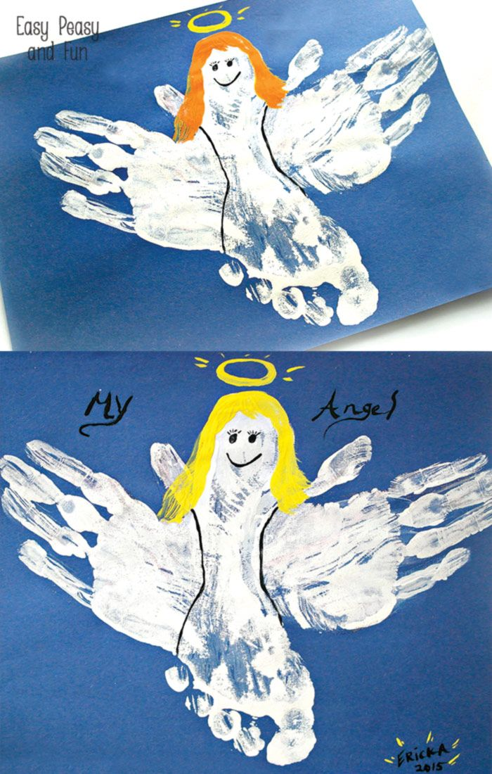Handprint and Footprint Angel Craft | Easy Peasy and Fun ...