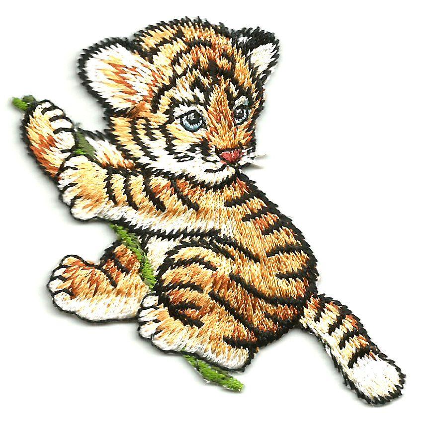 Embroidered Iron On Patch B Tiger Cub Cute Zoo Safari Wild Animals