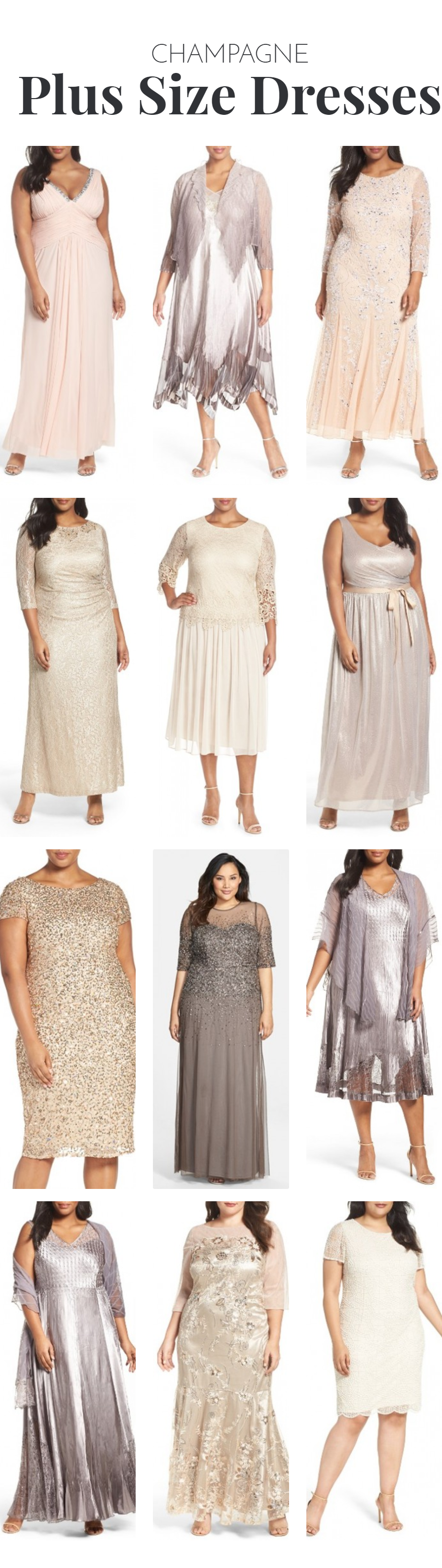 The Most flattering Plus Size dresses for the wedding in champagne ...