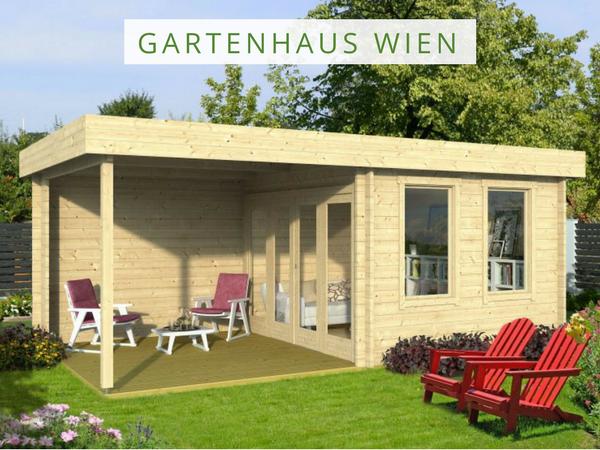 Gartenhaus Wien mit Flachdach und bodentiefen
