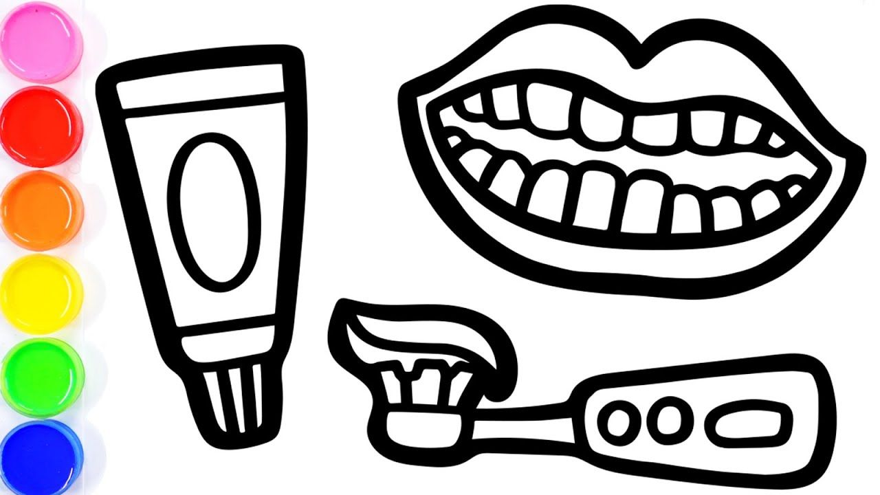 How To Draw Teeth Toothpaste And Electric Toothbrush Coloring Drawing For Toddlers Teeth Drawing Electric Toothbrush Colorful Drawings