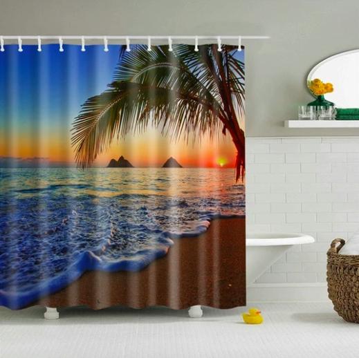 Enchanting Tropical Beach Fabric Shower Curtain In 2020 Beach