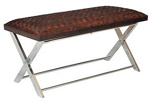 """bedroom bench? Remy 40"""" Woven Leather Bench, Sienna"""