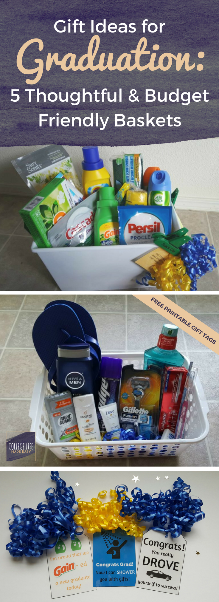 5 DIY Going Away to College Gift Basket Ideas for Boys | College ...