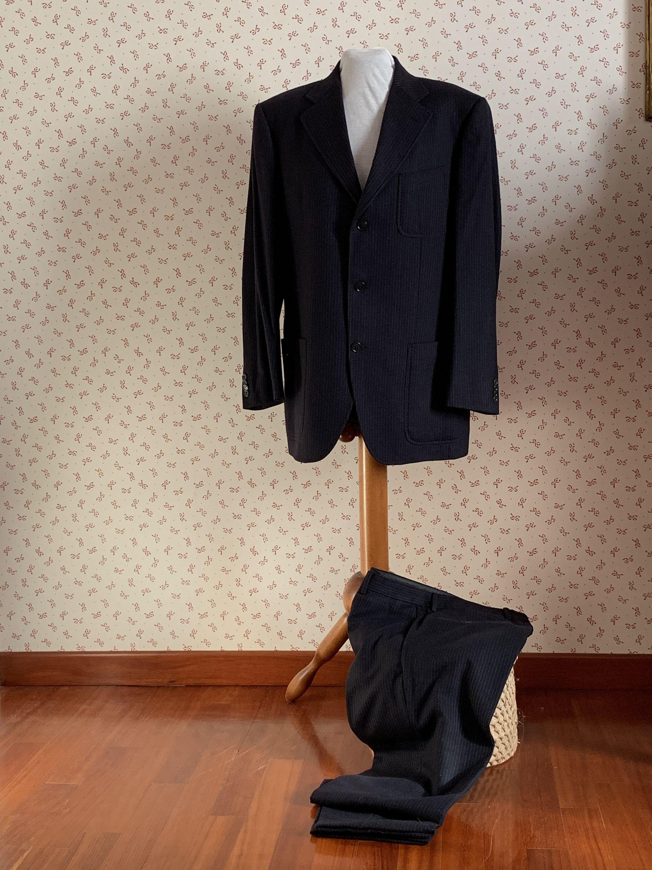 Abiti Eleganti Taglia 52.Super Sale Abito Uomo Gessato Blu Taglia 52 Abbigliamento Vintage