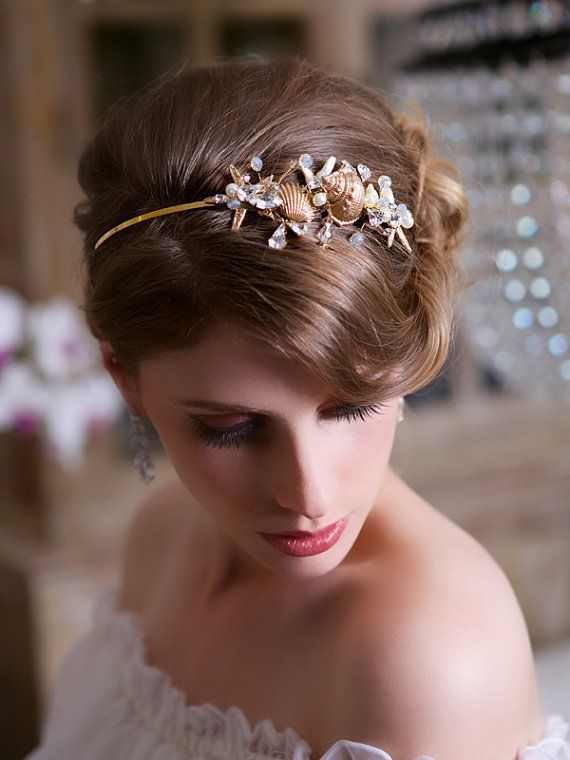 Beach Wedding Starfish Headband Gold Seashell Headpiece Crystal Hair Accessories STYLE 136