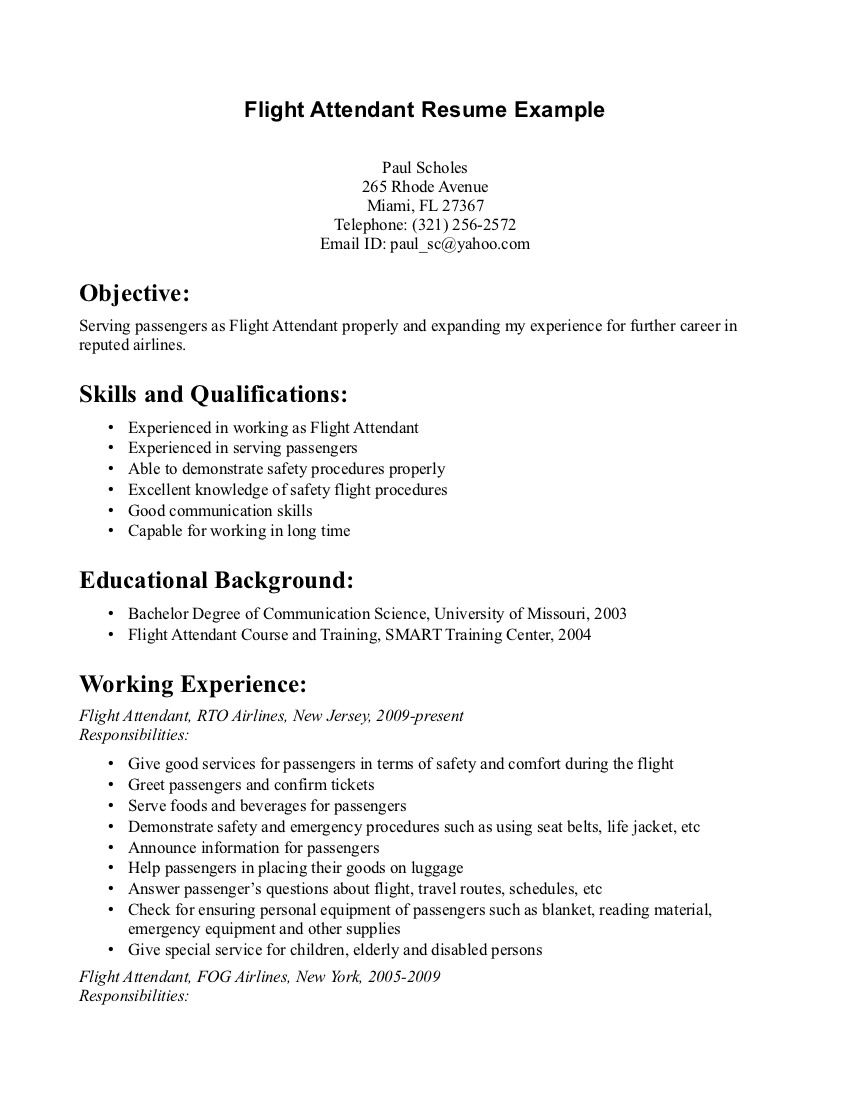 flight attendant resume - Skills For A Job Resume