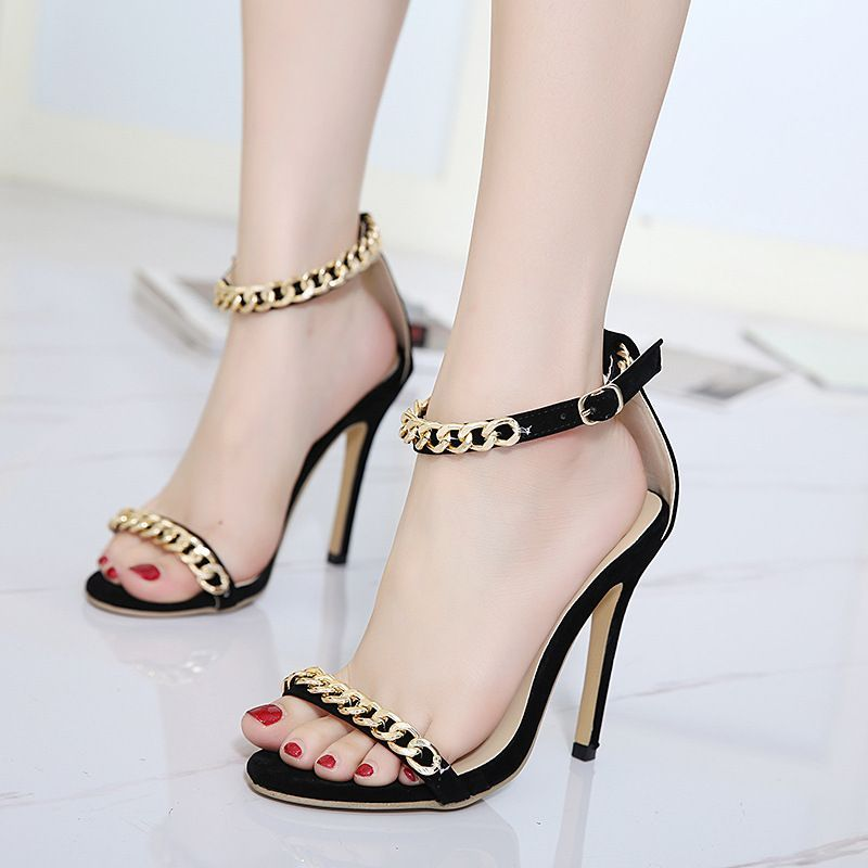 8f45519638f Free Shipping New Fashion Peep Toe High-Heels Buckle Strap Sandals Sexy  Woman Gold Chain Sandals Stiletto Heels Wedding Shoes
