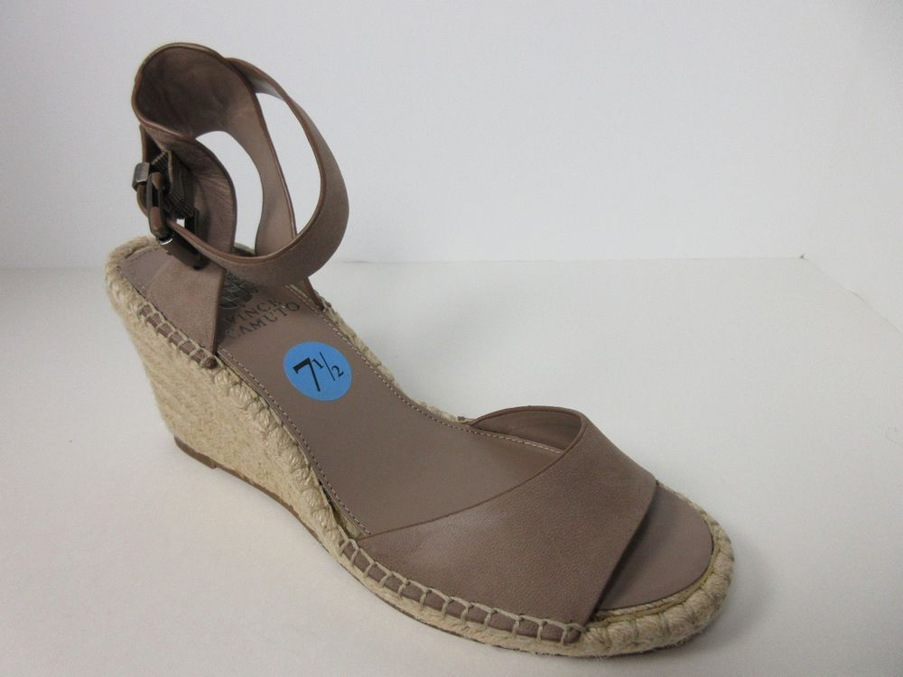 26fc99e6e48 Vince Camuto Tagger Espadrille Leather Wedge Open Toe Taupe Sandal Heel 7.5  M  VinceCamuto  OpenToe  AnyOccasion