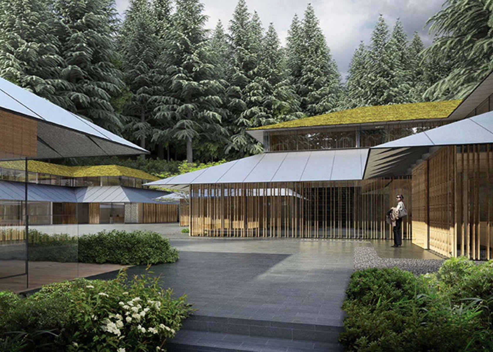 A Series Of Low Pitch Roofs And Overhanging Eaves Possesses Hints Of Frank Lloyd Wright Portland Japanese Garden Japanese Architecture Kengo Kuma