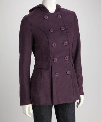 Purple Four-Button Hooded Coat | Daily deals for moms, babies and kids