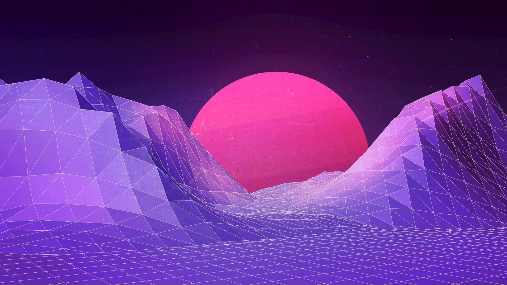 Geometric Sunset Vaporwave Wallpaper Aesthetic Tumblr