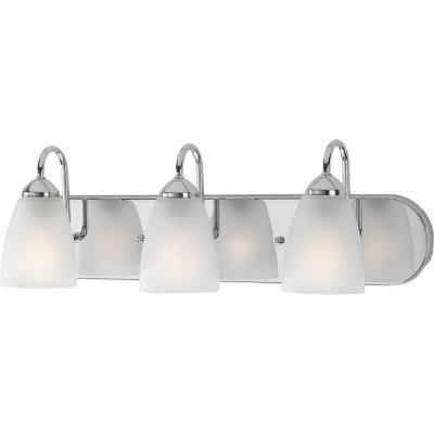 Progress Lighting Gather Collection 3Light Polished Chrome Bath Gorgeous Home Depot Bathroom Light Fixtures Design Decoration