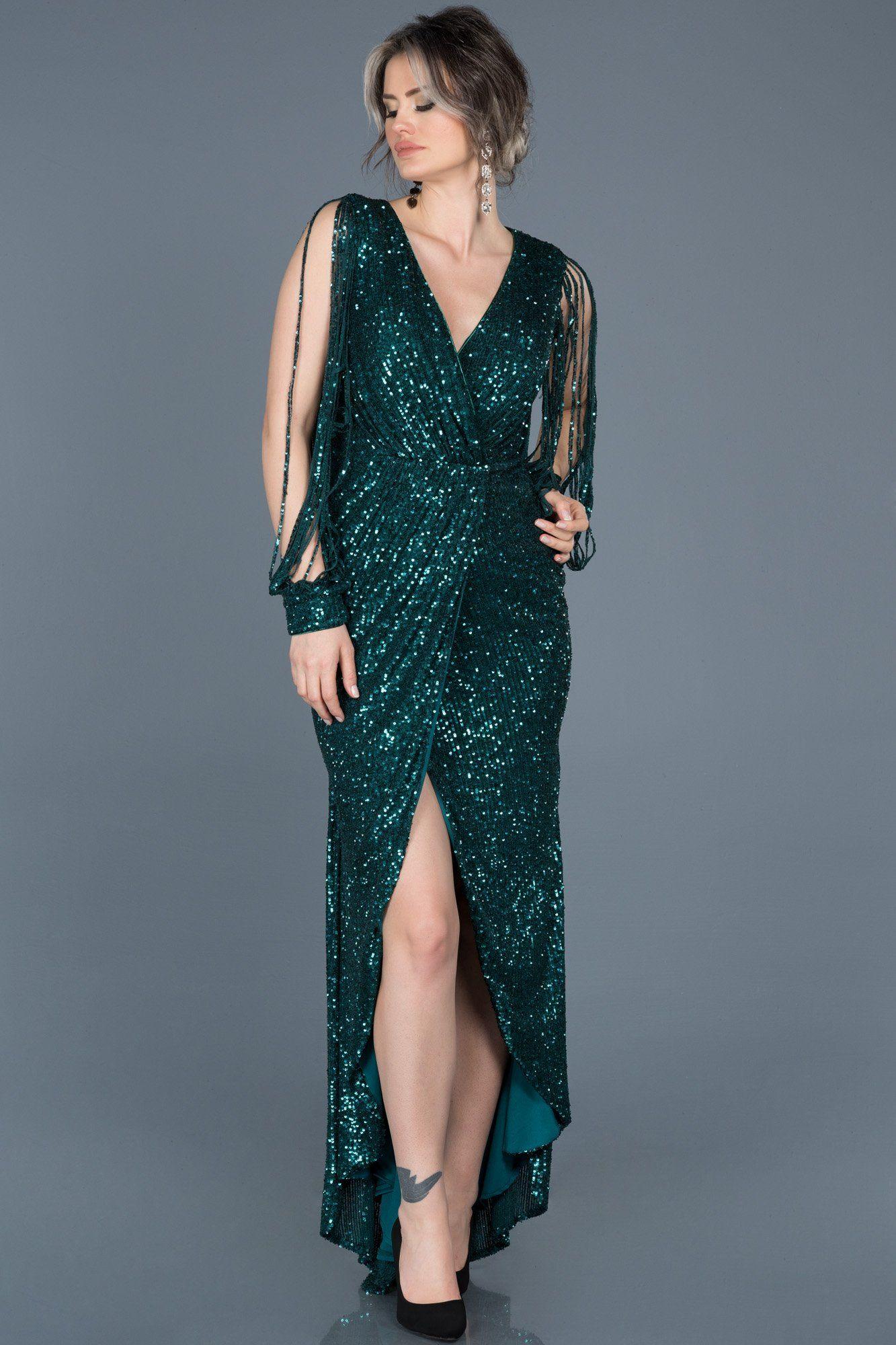 Yesil Payetli V Yaka Yirtmacli Elbise Abo015 Aksamustu Giysileri Moda Stilleri Ve The Dress