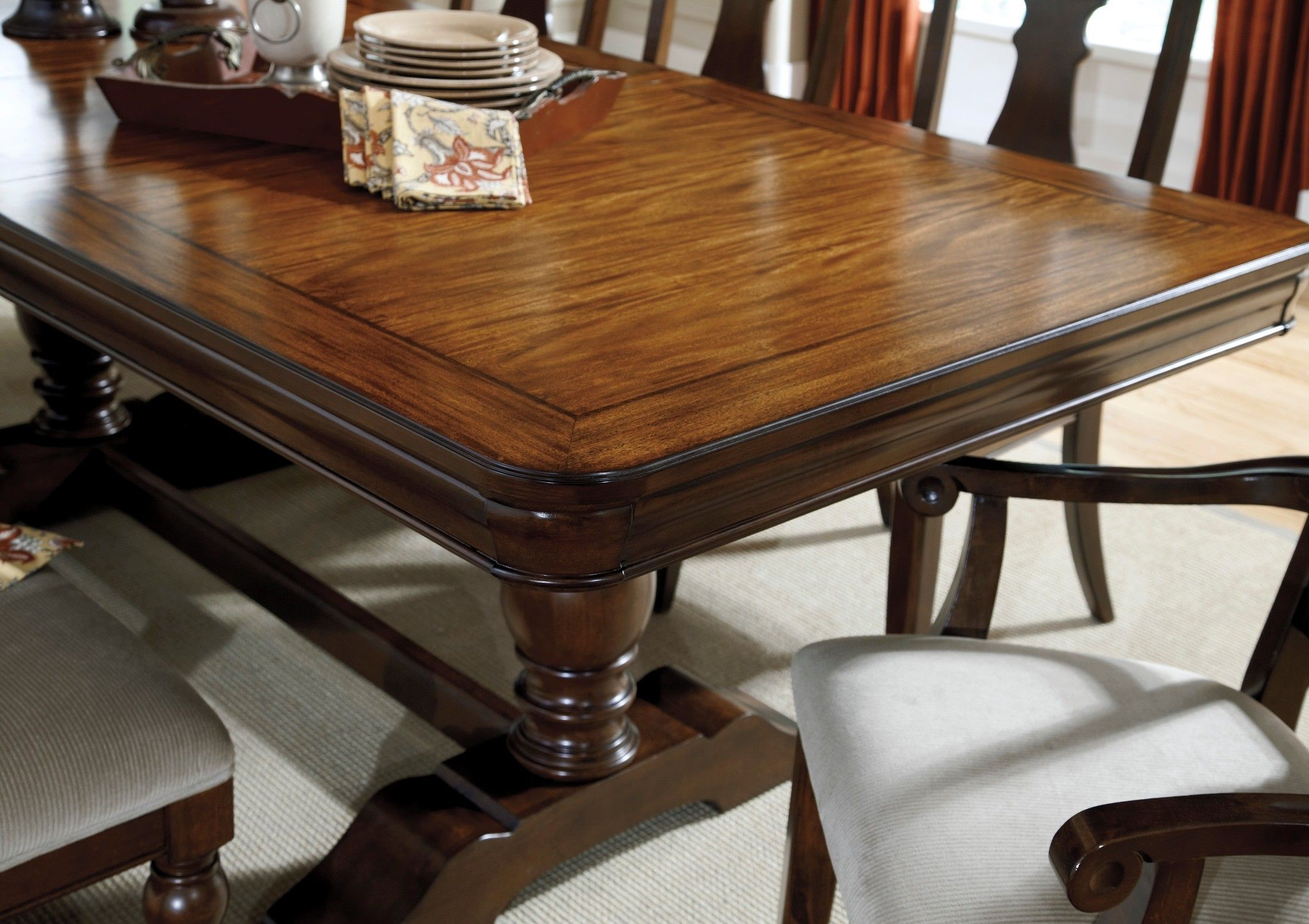 dining room table leximore rectangle drum pedestal table by ashley rh pinterest at