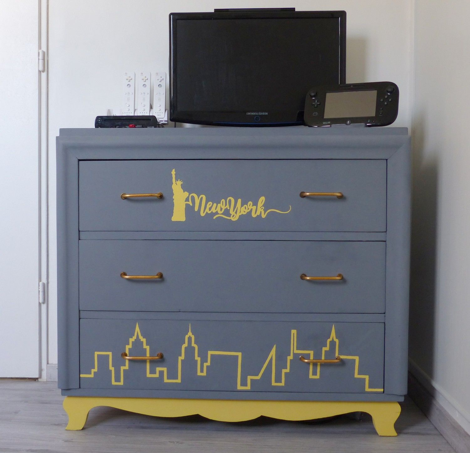 Relooking Meuble Commode New York Idee Deco Chambre Ado Gris Jaune