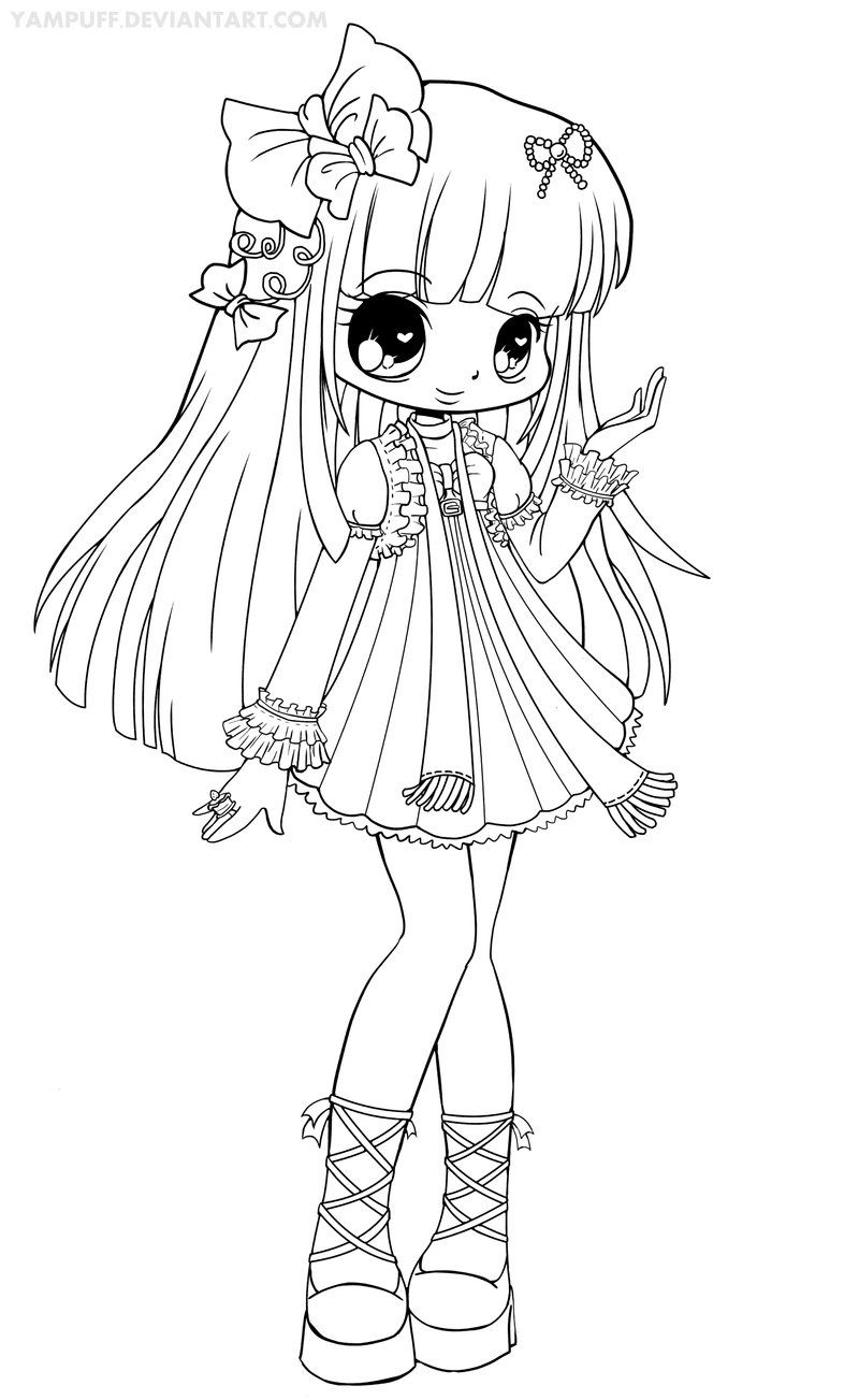 Chloe Lineart By Yampuff On Deviantart Chibi Coloring Pages Coloring Books Coloring Pages