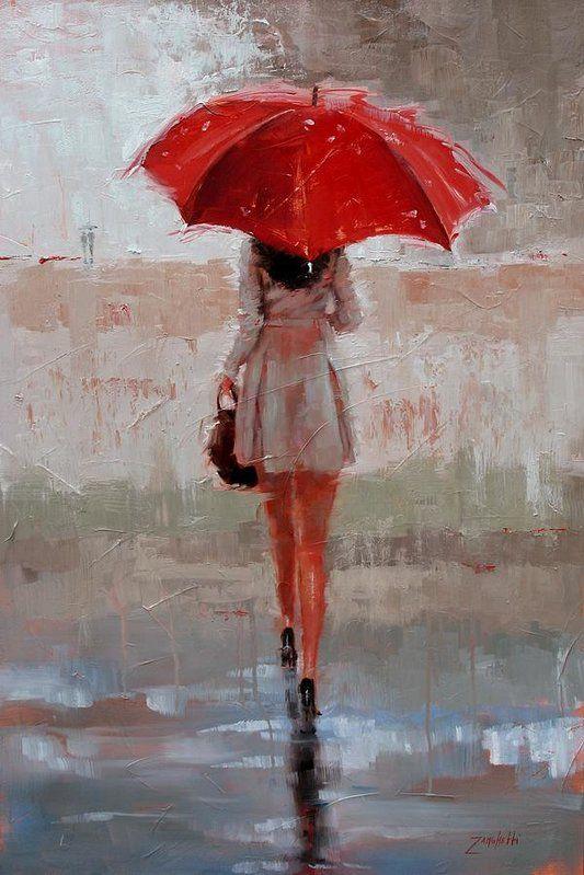 Parapluie Rouge Esquisse De Visage Peintures Simples
