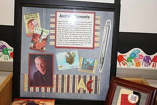 Author of the month display using a frame and then scrap booking the info to display in the classroom.