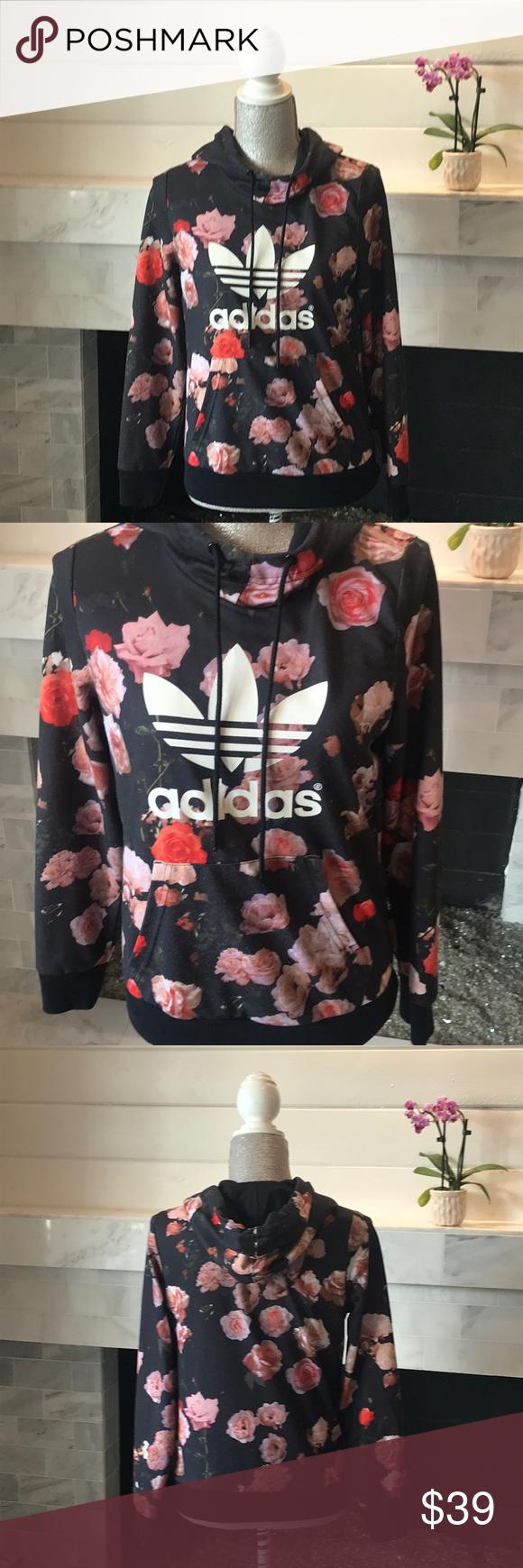 Adidas Floral Print Logo Hooded Sweatshirt Euc Adidas Floral Clothes Design Fashion [ 1740 x 580 Pixel ]