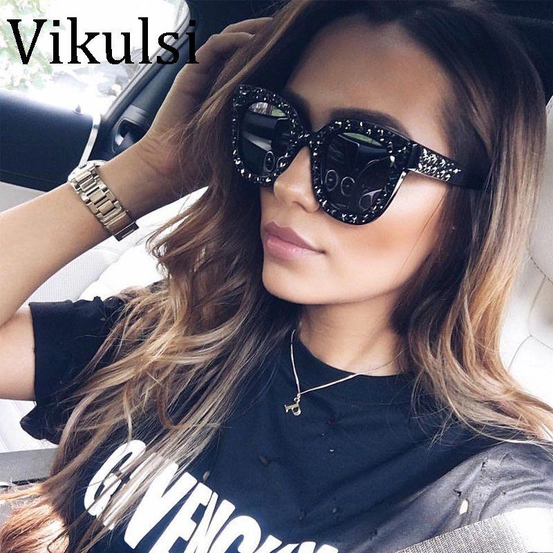 2018 luxus Italienischen Marke Sonnenbrille Frauen Kristall Quadrat ...