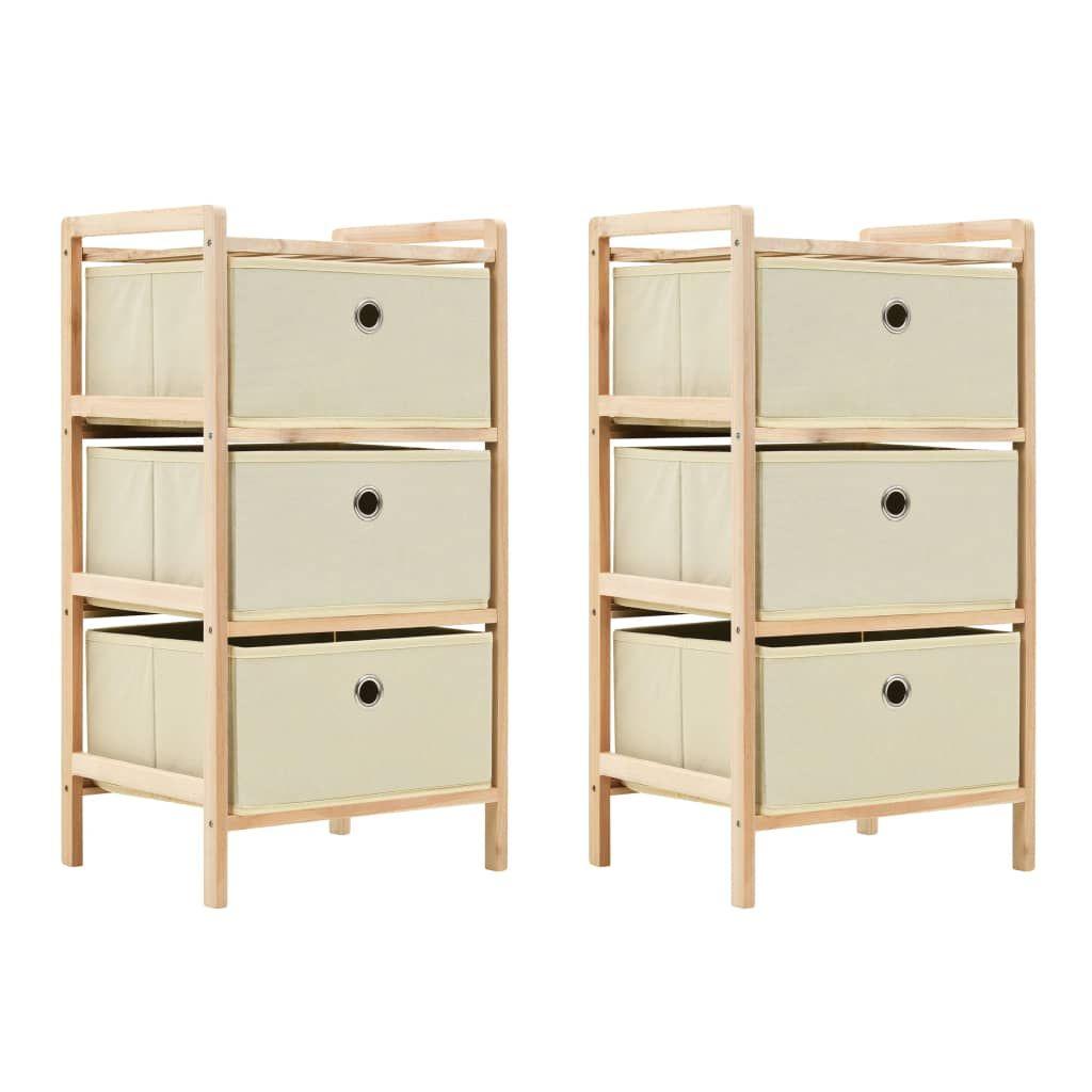 vidaXL Storage Racks with 3 Fabric Baskets 2 pcs Beige Cedar Wood