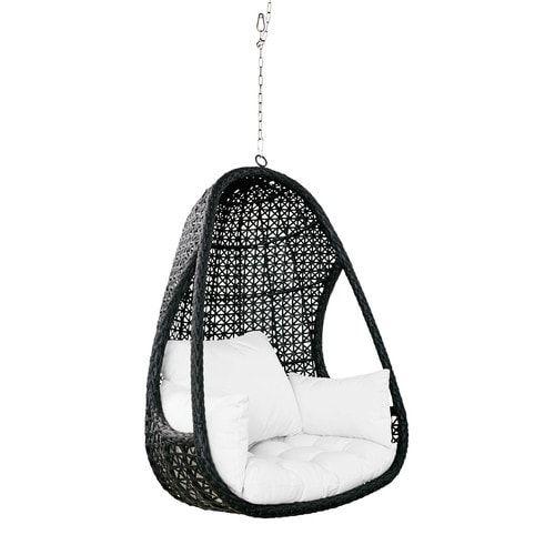garten h ngesessel aus geflochtenem kunstharz in schwarz mit wei en kissen zuk nftige projekte. Black Bedroom Furniture Sets. Home Design Ideas