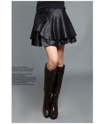 PLUS SIZE High Waist Bow Pleated Faux Leather Slim Skirt TE113 plus1-10x(SZ16-52