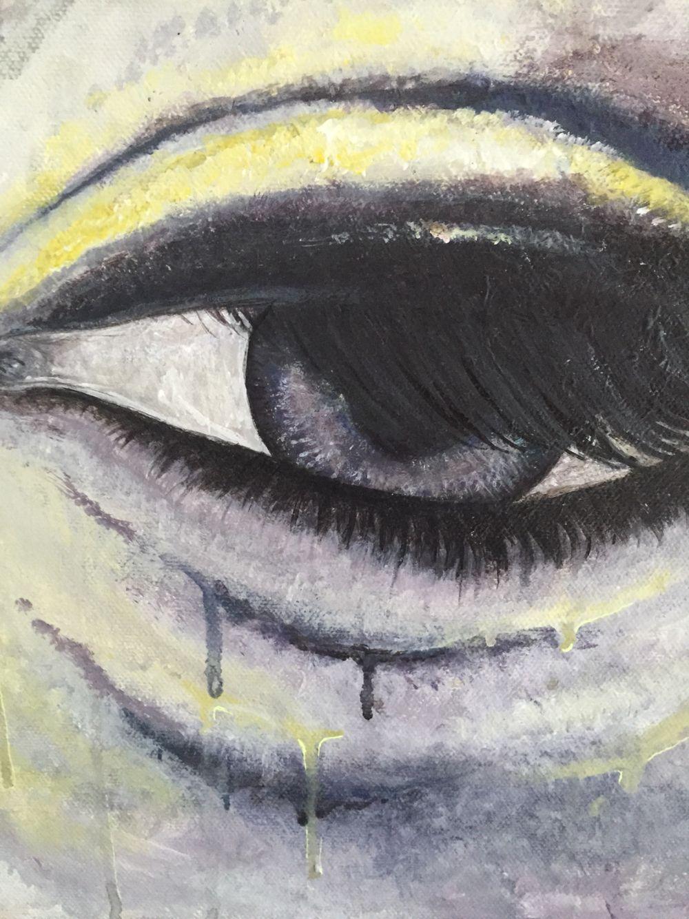 Maleri af øje med streg af sorg.