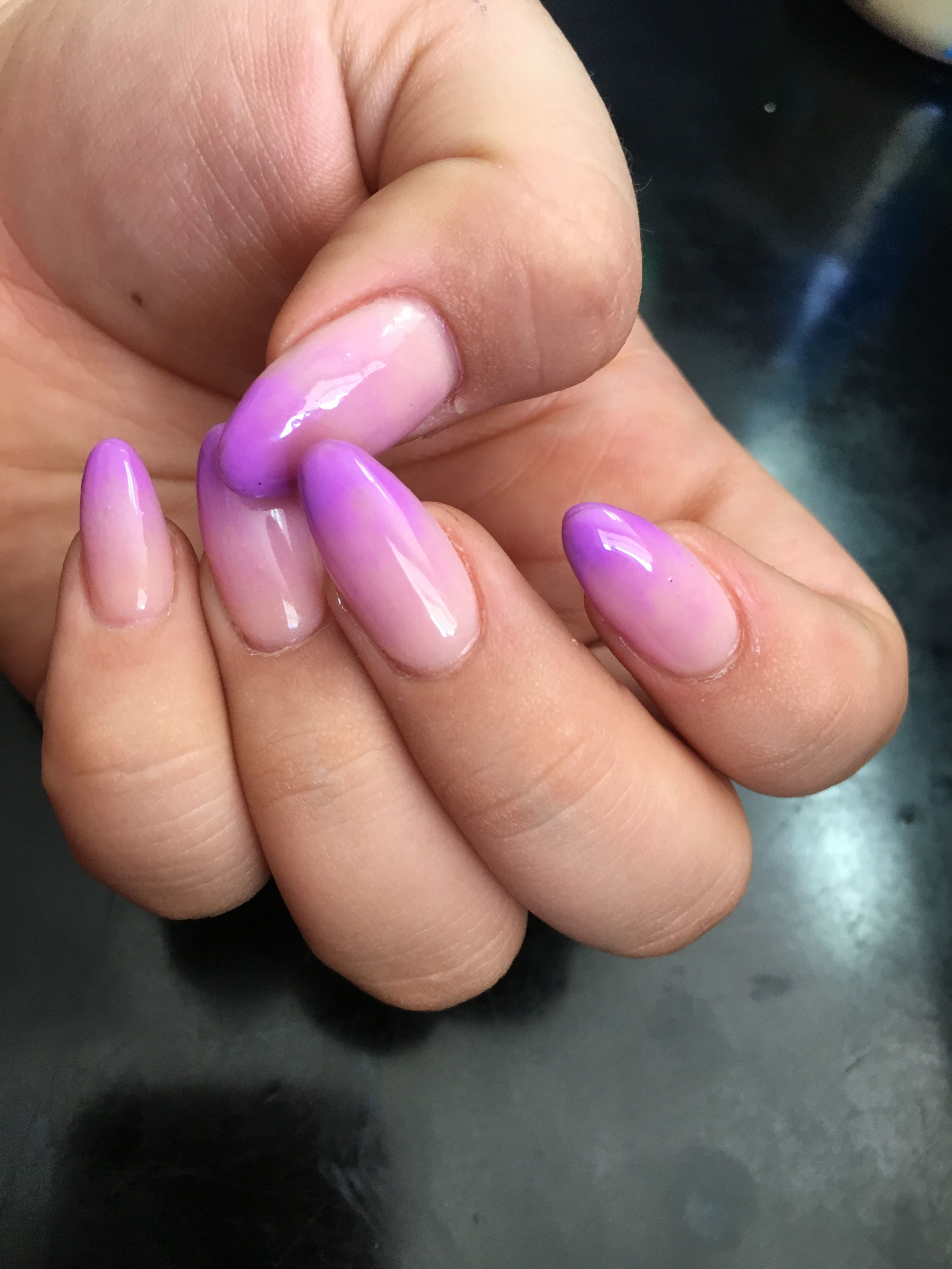 Almond Lavender Ombre Acrylic Nails Nails Ombre Acrylic Nails Cute Almond Nails