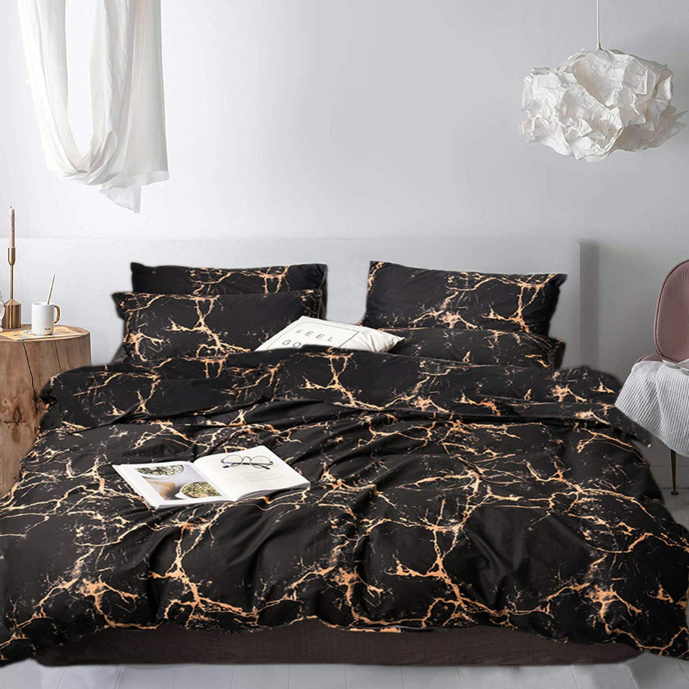 Pin By Riece Surette On Bedding For My Nest In 2020 Gold Bedding Sets Marble Duvet Cover Black Duvet